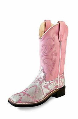 Old West Pink Children Girls Glitter Faux Leather Cowboy Wes