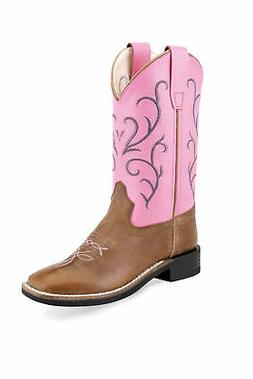 Old West Pink/Tan Kids Girls Leather Western Cowboy Boots
