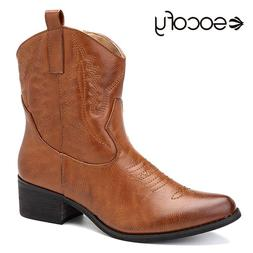 Socofy PU Leather Cowgirl Women <font><b>Boots</b></font> Au