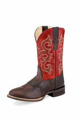 Old West Red/Brown Mens Leather Saddle Cowboy Boots