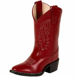 Old West Red Childrens Girls Corona Leather J Toe Cowboy Wes