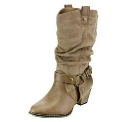 Refresh AD44 Women's Western Cowgirl Pull On Block Heel Slou