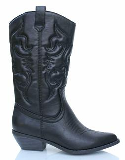 Soda RENO Womens Black Synthetic Material Pull On Cowgirl We