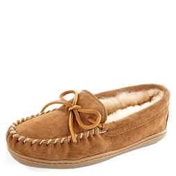 Women's Minnetonka Sheepskin Hard Sole Moccasin Slipper , Si