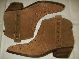 SAM EDELMAN SHORT BOOT, WESTERN STYLE, TAUPE-BROWN SUEDE, SI