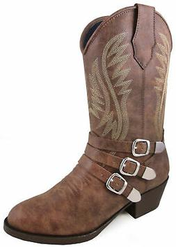 Smoky Mountain Childrens Girls Buckle Up Brown Faux Leather