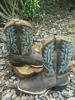 sport outfitter distressed brown blue western boots