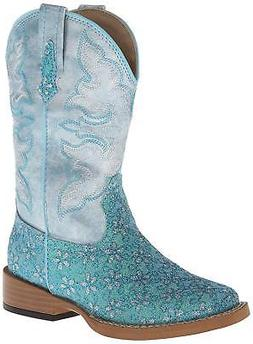square toe glitter floral western boot toddler
