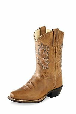 Old West Tan Kids Boys Leather Cowboy Boots