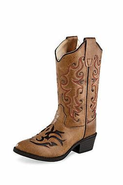 Old West Tan Kids Girls Faux Leather Western Cowboy Boots