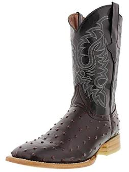 Texas Legacy - Men's Black Cherry Ostrich Quill Design Leath