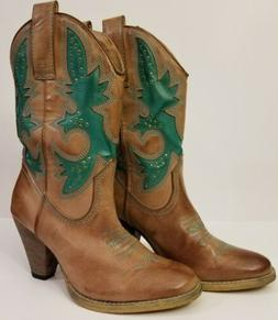 Very Volatile Turquoise & Brown Studded Cowboy Western Boots