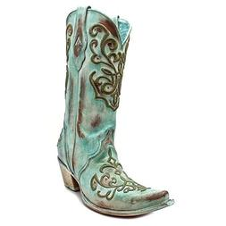 CORRAL BOOTS TURQUOISE CHORD STITCH COWGIRL SIZE 7 PIONEER W