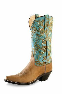 Old West Turquoise Womens Fancy Stitch Snip Toe Cowboy Weste