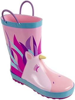 Rainbow Daze Unicorn Printed Waterproof Rain Boots with Easy
