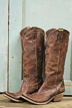 US Womens Vintage Western Boots Cowboy Faux Leather Steampun