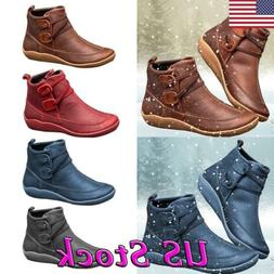 Vintage Women Winter Leather Boots Western Slip on Flat Ankl