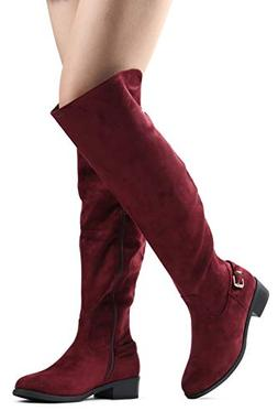 LUSTHAVE Women's W8 Knee High Boots - Low Flat Stacked Heel