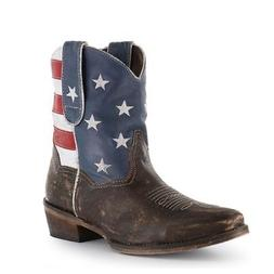 Roper Western Boots Womens Ankle USA Flag Brown 09-021-0977-