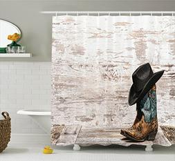 Ambesonne Western Decor Shower Curtain, Traditional Rodeo Co