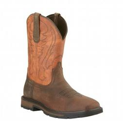 Ariat Western Work Mens Boots Groundbreaker Square Toe Brown