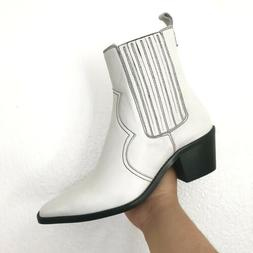 White Leather Western Booties US Women's 8