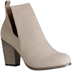 Chase & Chloe Women's Willy-3 Cutout Side Sueded Bootie  US,