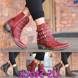 Women Cowboy Cowgirls Ankle Boots Studs Rivet Low Heel Ladie