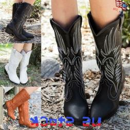 Women Mid Calf Western Boots Knee High Pull On Shoes Cowboy