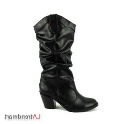 Women Mid Calf Western Cowgirl Cowboy Boots Stacked Heel Sod