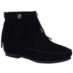 women retro fringe boots low heel ankle