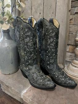 Women's Corral Boots A3672 Snip Toe Western Boots Size 8.5M