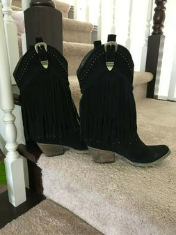 Very Volatile Women's Black Suede Western Boots Size 7.5