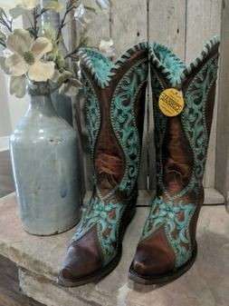 Women's Corral Boots E1538 Snip Toe Western Boots Size 9.5M