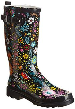 Western Chief Women's Garden Play Rain Boot,Black,7 M US