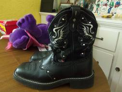 Justin Boots Women's Gypsy Collection-Black Suede w/Wings/Cr