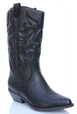 Soda Women's Red Reno Western Cowboy Pointed Toe Knee High P