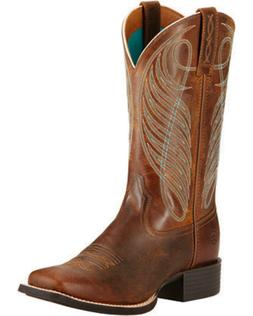 WOMEN'S ARIAT ROUND UP SQUARE TOE WESTERN BOOTS POWDER BROWN