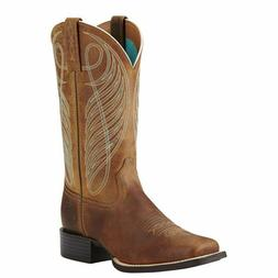 Women's Ariat Round Up Wide Square Toe Western Boots Powder