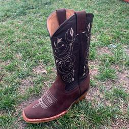 Women's Square Toe Cowgirl Boots Leather Brown Tacon Cubano