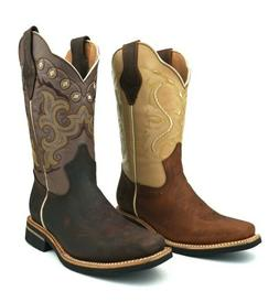 WOMEN'S WESTERN SQUARE WIDE SHAFT TOE COWGIRL BOOTS SMOOTH L
