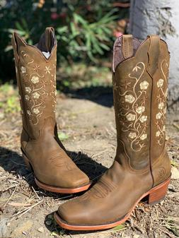 WOMEN'S WESTERN SQUARED FLOWER SHAFT TOE COWGIRL BOOTS SMOOT