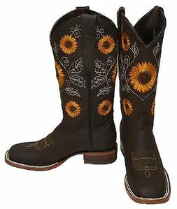 Women Western Cowgirl Boot Reywelt Sunflower Squared Leather