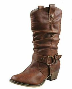 Refresh Women Wild-02 Western Style Cowboy Tan Brown Pu Slou