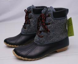 Western Chief Womens 7M Gray Quilted Four Eye Waterproof Duc