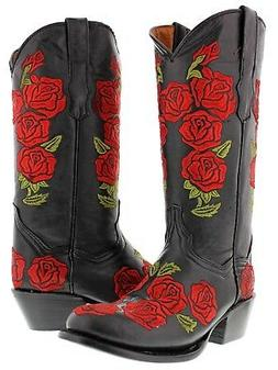 Womens Black Red Embroidered Western Leather Cowboy Cowgirl