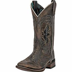 Laredo Womens Black/Tan Cowboy Boots Leather Broad Square To