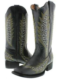 Womens Black Western Cowgirl Boots Silver Studded Embroidere