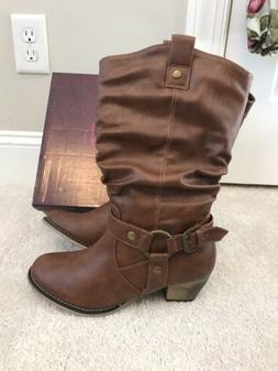 Refresh Womens Boots 6.5 Brown Western Tall Shoes New