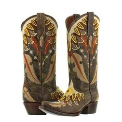 Womens Brown Embroidery Feathers Cowgirl Boots Casual Wester